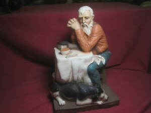 "1989 Pat Rankin Universal Statuary Old ""Man praying with dog"" Figurine"