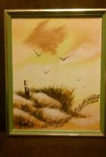 Framed Painting by Brent of Sand Dunes and Seagulls