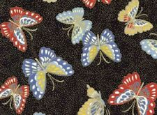 Fat Quarter Niwa Butterflies Black Oriental Cotton Quilting Fabric Red Rooster