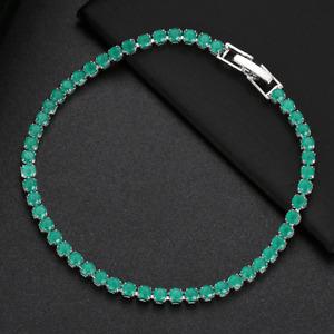 Ultra Slim 3MM Pink Green Citrine Gemstone Summer Women Jewelry Silver Bracelets