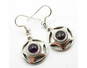 Purple Amethyst Dangle Earrings  925 Solid Sterling Silver Handmade Jewelry