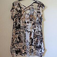 MAGNA Lagenlook Ballon Tunika Kleid LetterPrint weiß-schwarz-grau  52-54(5)