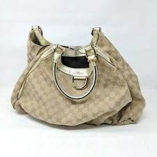 Gucci D-Ring Abbey Canvas Tote Gold Beige Logo Purse Shoulder Bag Hobo