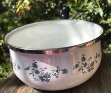 Vintage Enamel Cookware Medium Sauce Pan Only No Lid Floral Blue Garland Pattern