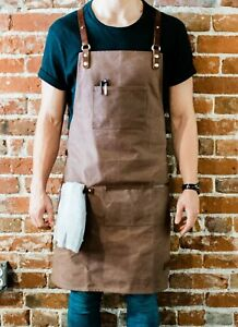 Utility Barista Apron - Brown Waxed Canvas with Genuine Leather Straps