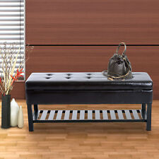 HOMCOM Faux Leather Bench Shoe Rack 3-seater Storage Ottoman Furniture Brown