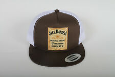 Jack Daniels Tennessee Honey Whiskey Patch on a Yupoong Flatbill Trucker Hat