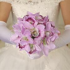 Artificial Butterfly Orchid Bridal Bridesmaid Flower Bouquet Light Purple