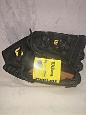 """New listing Wilson Elite Black 14"""" Softball Genuine Leather Adult Glove WTA2444 RHT"""