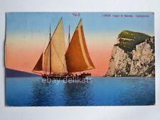 CAMPIONE LAGO DI GARDA barca vela pescatori Brescia vecchia cartolina 3426 *
