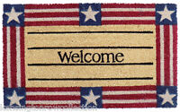 "DOOR MATS - AMERICANA COIR WELCOME MAT - 18"" X 30"" -  PATRIOTIC DOORMAT"