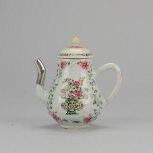 Very Rare Antique Chinese Yongzheng Period Pot Teapot Famille ROse Qing