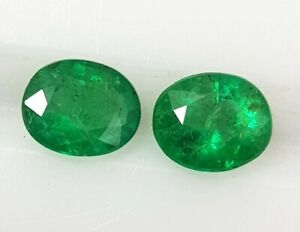 1.25 Ct Natural Zambia Emerald Matching Pair Oval Cut Top Green Gems Untreated