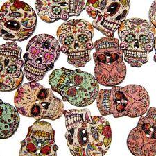 50Pcs Wooden Handmade Wood Buttons Scrapbooking Skull Skeleton Sewing