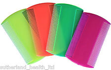 x4 Nit & Head Lice Comb - Double Sided - Neon Colours - By Sutherland
