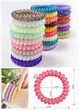 10 x Candy Color Elastic Telephone Wire Cord Head Ties Hair Band Rope Ponytail