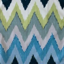 SCHUMACHER Adras Ikat Print Green Blue Teal 100% Cotton Remnant New