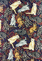 """Vintage Shamash & Sons Cats on Paisley Quilting Sewing Fabric 120"""" x 42"""" 3.3 Yds"""