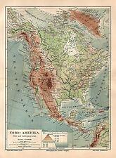 NORDAMERIKA Flüsse Gebirge Physikalische Karte LANDKARTE  1905