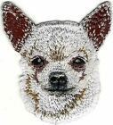 """2"""" x 2 1/4"""" White Chihuahua Head Portrait Dog Breed Embroidery Patch"""