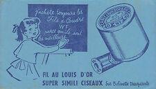 Buvard Vintage  Fil au louis d'or Super Simili Ciseaux  Fil  WF  No 2