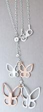 Silberkette 925 mit Schmetterlingen Kette Silber Rotgold Schmetterling Halskette