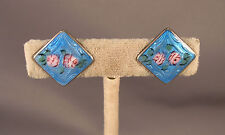 Vintage Art Deco Guilloche Enameled Sterling Earrings Pink Roses on Blue 1920's