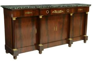 Sideboard, French Empire Style Marble-Top Mahogany, Gilt Metal Mounts, 1900's!