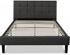 New Queen Platform Bed Frame Headboard w Wood Slats Upholstered Square Stitched