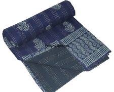 Indian Handmade Block Print Indigo Blue Cotton Kantha Quilt Throw Blanket Gudari