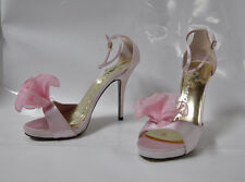 "Wild Rose ""Kakoa"" pink satin hi-heel sandal with bow - Size 11, 5"" heel - New"