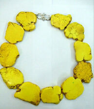 Shining Yellow Turquoise Slice Handmade Princess Necklace Woman Gift Party