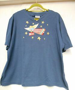 Bon Worth USA denim blue T shirt top with USA applique motif size L (20-22)