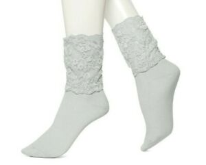 HUE WOW Icicle Gray High Top Lace Socks U15202  - MSRP $8.50 ea.
