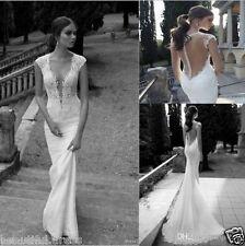 New Deep V-Neck Lace Backless Mermaid Berta Bridal Sleeve Wedding Dress Custom