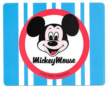 "2 Large 1970s Mickey Mouse Walt Disney Productions Vinyl Blue 7"" Sticker New Nos"