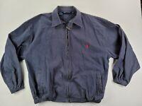 Vtg POLO Ralph Lauren Canvas Bomber Jacket Size XXL 2XL Navy Blue Full Zip