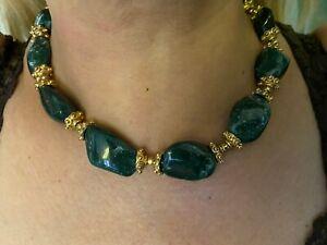 "Vintage Gilt Sterling Silver 925 Dark Green Aventurine Necklace 16"" Long 1960s"