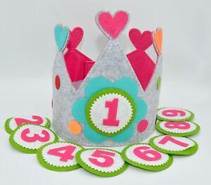 Kinder Kinder Geburtstagskrone, mit den Zahlen 1-9 Filz-Krone, Party-Krone Pink