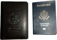 New USA Leather passport Cover, Case wallet credit ATM card case ID holder BNWT*