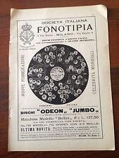 """Pubblicità RITAGLIO 1909- SOCIETA' ITALIANA FONOTIPIA - DISCHI """" ODEON"""" """"JUMBO"""""""