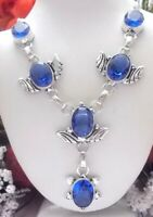 BEAUTIFUL BLUE TANZANITE QUARTZ 925 STERLING SILVER NECKLACE-STAMPED-18 INCHES