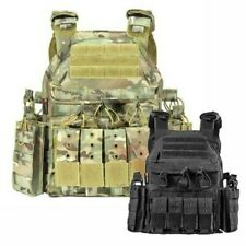 Tactical Vest Combat Waistcoat with Molle Hook & Loop Mag Pouch Flashlight Bag