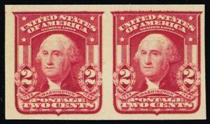 320A, Mint 2¢ XF NH Type II Lake Color Imperforate Pair - Stuart Katz