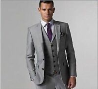 CUSTOM MADE TO MEASURE GREY MEN SUITS BESPOKE WEDDING TUXEDOS FOR MEN GROOM SUIT