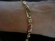NEW WOMEN'S GREEK KEY 18K YELLOW GOLD PLATED RHINSTONES LINK BRACELET 7.25