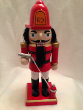 """Fireman Red Nutcracker Wooden Christmas Holiday Decoration Fire Hydrant Hose 9"""""""