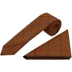 Handmade Light Brown Large Check Tweed Skinny Men's Tie and Pocket Square Slim