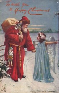 CHRISTMAS - Angel Directs Santa Claus Tuck Postcard - 1905