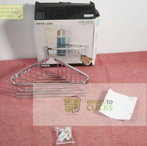 """Better Living Products- 10"""" Bath Boutique Corner Basket Chrome"""